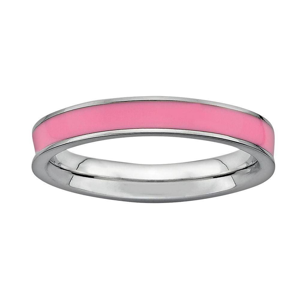 Stacks & Stones Sterling Silver Pink Enamel Stack Ring