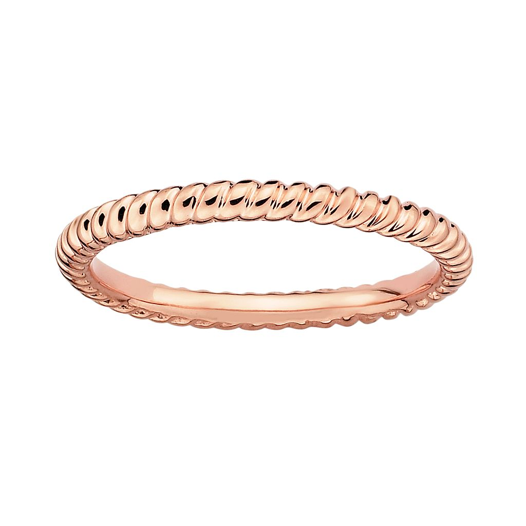 Stacks & Stones 18k Rose Gold Over Silver Twist Stack Ring