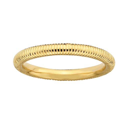 Stacks and Stones 18k Gold Over Silver Ribbed Stack Ring