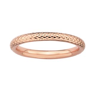 Stacks and Stones 18k Rose Gold Over Silver Cable Stack Ring