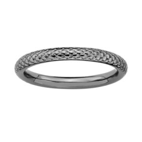 Stacks and Stones Ruthenium-Plated Sterling Silver Cable Stack Ring