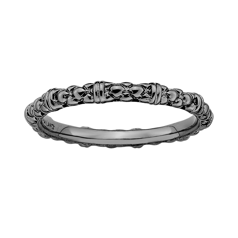 Stacks & Stones Ruthenium-Plated Sterling Silver Textured Stack Ring