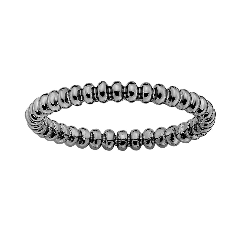 Stacks & Stones Ruthenium-Plated Sterling Silver Beaded Stack Ring
