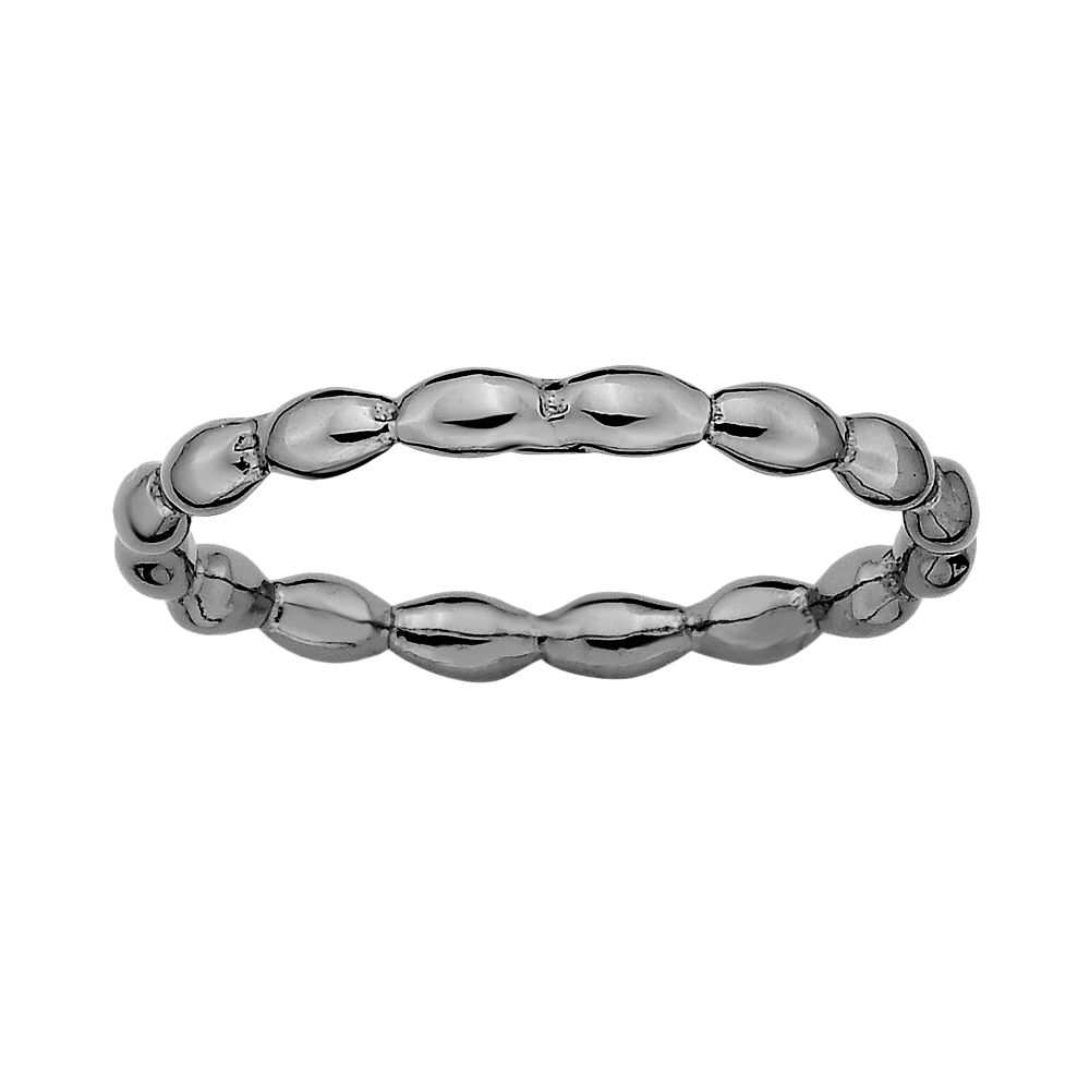 Stacks & Stones Ruthenium-Plated Sterling Silver Rice Stack Ring