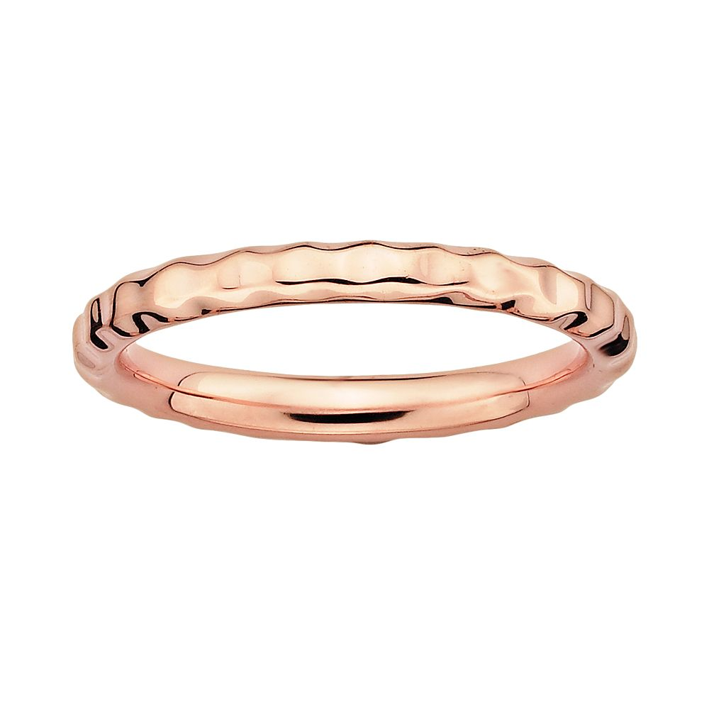 Stacks & Stones 18k Rose Gold Over Silver Hammered Stack Ring