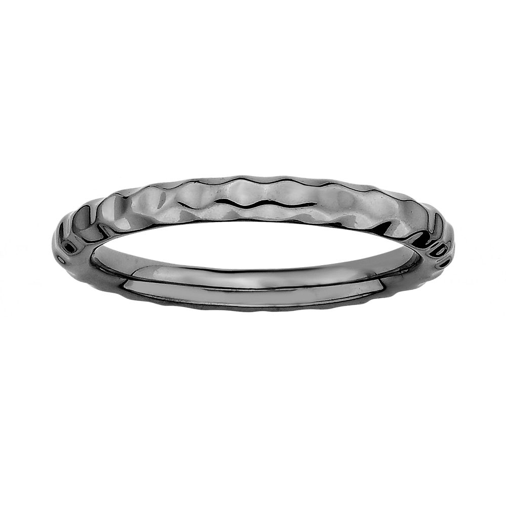Stacks & Stones Ruthenium-Plated Sterling Silver Hammered Stack Ring