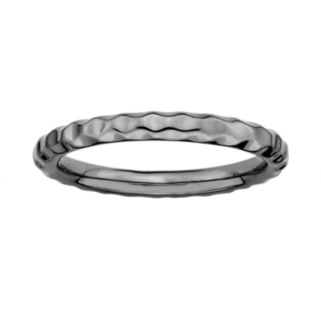 Stacks and Stones Ruthenium-Plated Sterling Silver Hammered Stack Ring