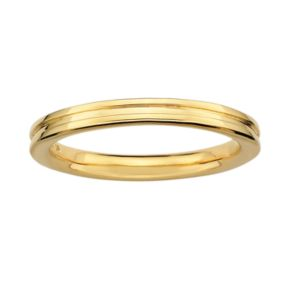 Stacks and Stones 18k Gold Over Silver Grooved Stack Ring