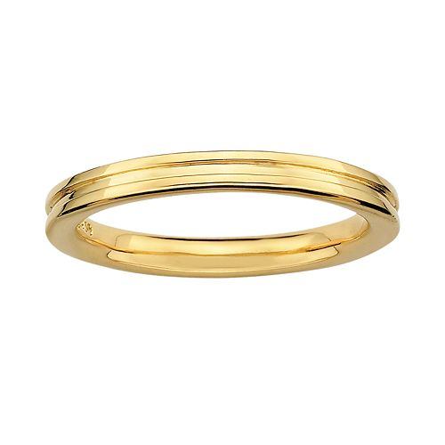 Stacks & Stones 18k Gold Over Silver Grooved Stack Ring