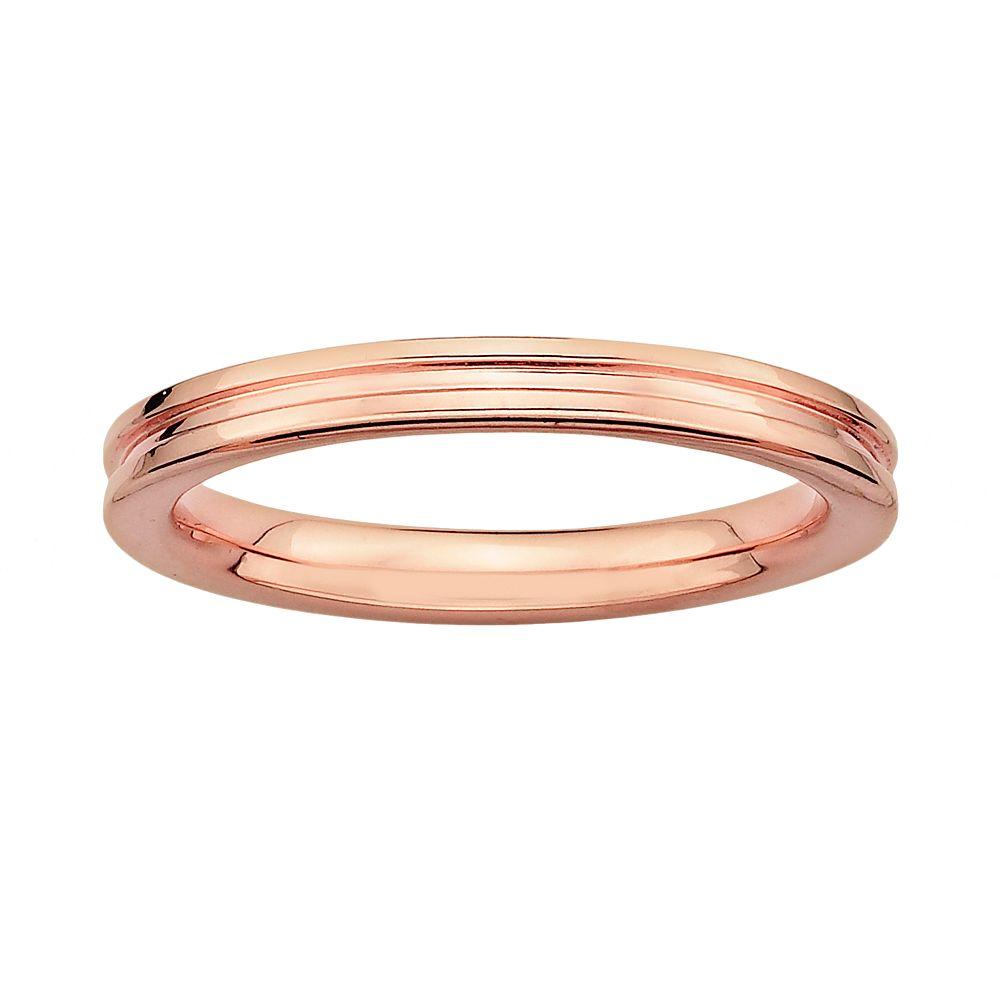 Stacks & Stones 18k Rose Gold Over Silver Grooved Stack Ring