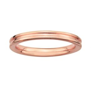 Stacks and Stones 18k Rose Gold Over Silver Grooved Stack Ring