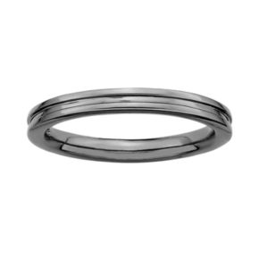 Stacks and Stones Ruthenium-Plated Sterling Silver Grooved Stack Ring