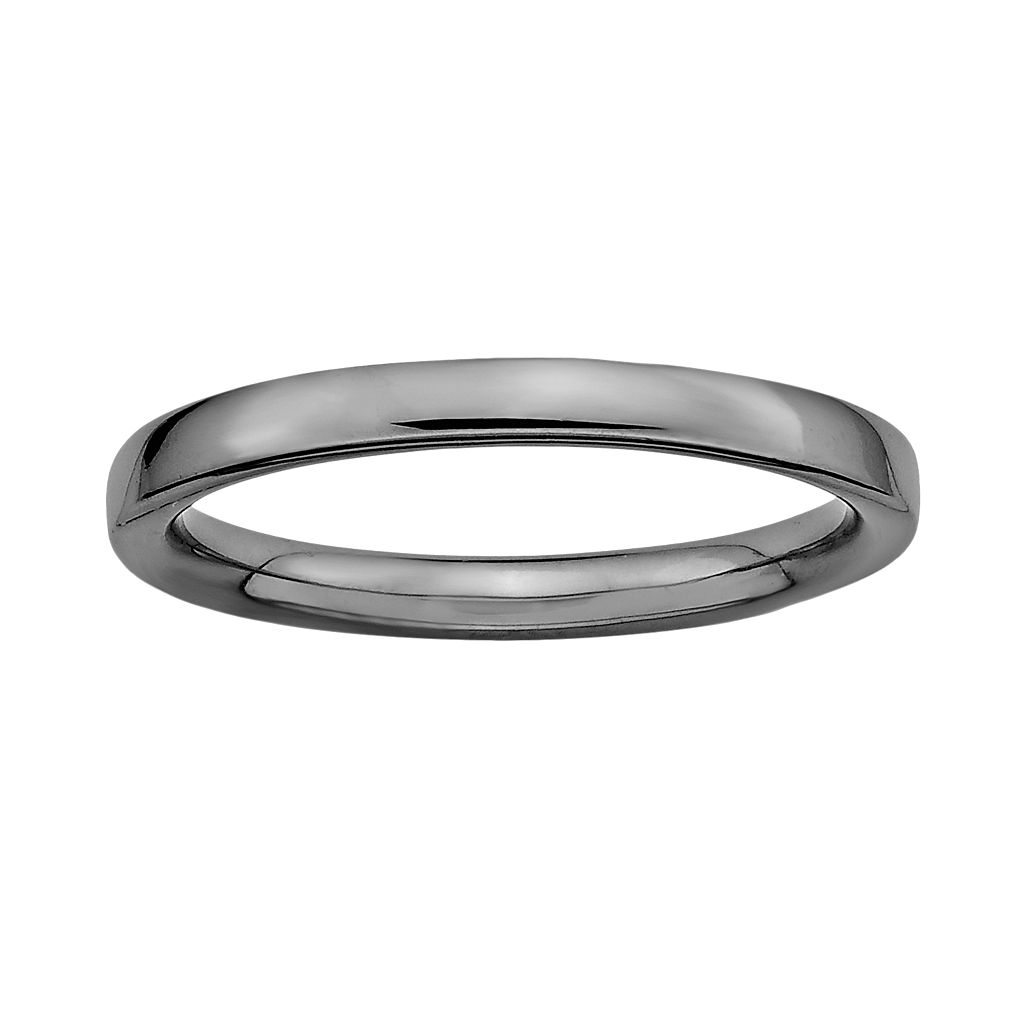 Stacks & Stones Ruthenium-Plated Sterling Silver Stack Ring
