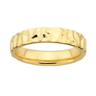 Stacks and Stones 18k Gold Over Silver Textured Stack Ring