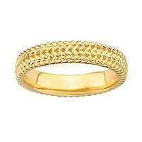 Stacks & Stones 18k Gold Over Silver Herringbone Stack Ring
