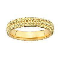 Stacks & Stones 18k Gold Over Silver Herringbone Stack Ring