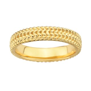 Stacks and Stones 18k Gold Over Silver Herringbone Stack Ring