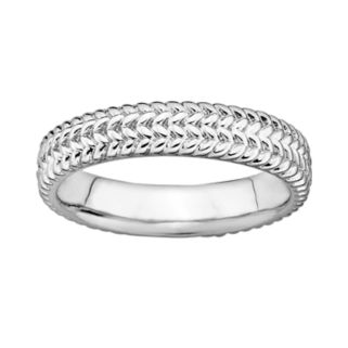 Stacks and Stones Sterling Silver Herringbone Stack Ring