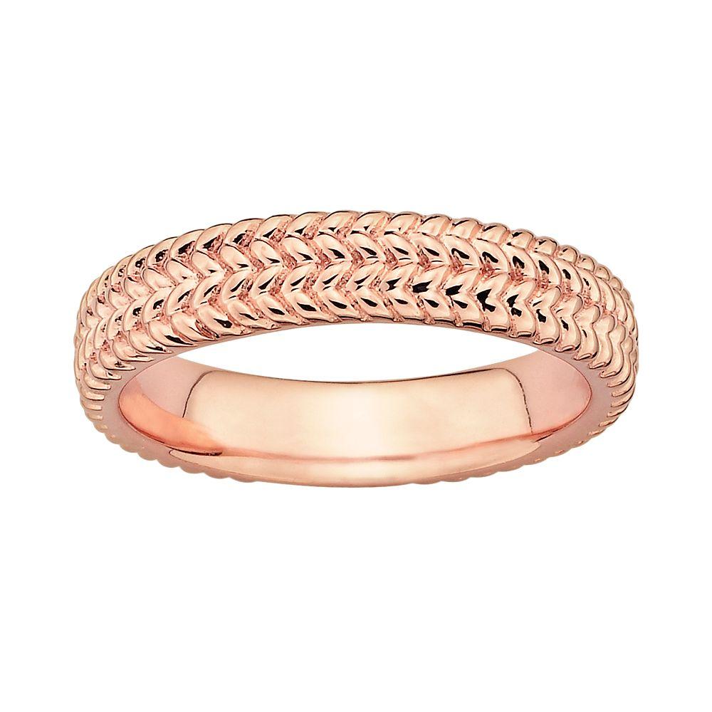 Stacks & Stones 18k Rose Gold Over Silver Herringbone Stack Ring