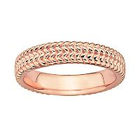 Stacks & Stones 18k Rose Gold Over Silver Herringbone Stack Ring