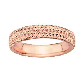 Stacks and Stones 18k Rose Gold Over Silver Herringbone Stack Ring