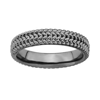 Stacks and Stones Ruthenium-Plated Sterling Silver Herringbone Stack Ring