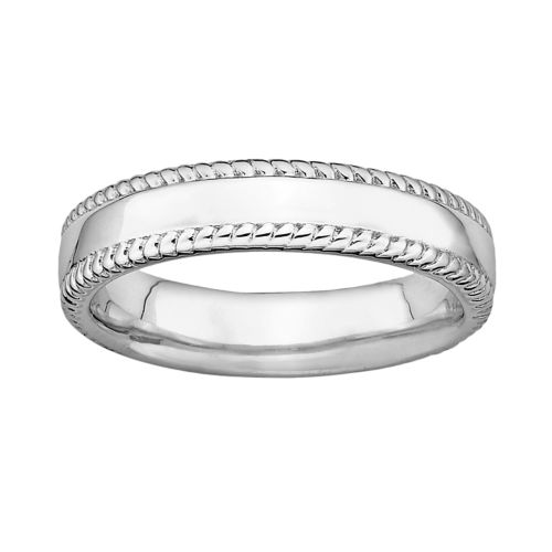 Stacks and Stones Sterling Silver Milgrain Stack Ring