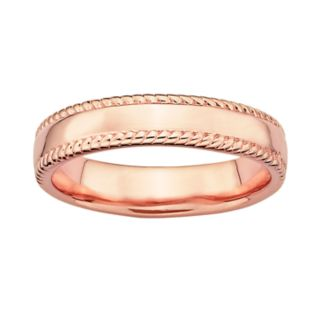 Stacks and Stones 18k Rose Gold Over Silver Milgrain Stack Ring