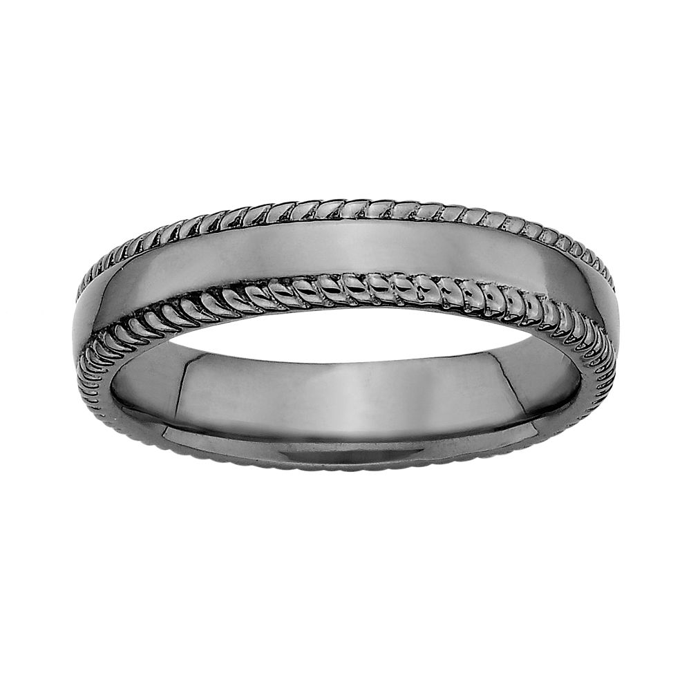 Stacks & Stones Ruthenium-Plated Sterling Silver Milgrain Stack Ring