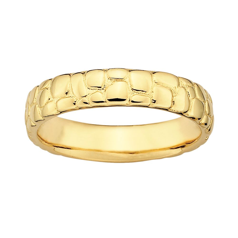 Stacks & Stones 18k Gold Over Silver Pebbled Stack Ring