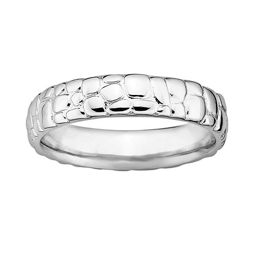 Stacks & Stones Sterling Silver Pebbled Stack Ring