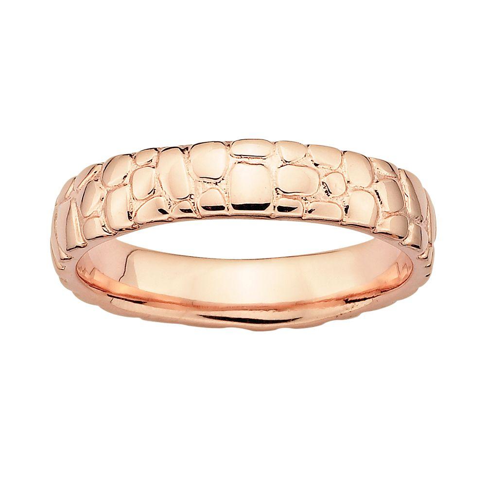 Stacks & Stones 18k Rose Gold Over Silver Pebbled Stack Ring
