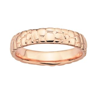 Stacks and Stones 18k Rose Gold Over Silver Pebbled Stack Ring