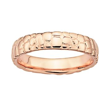 Stacks & Stones 18k Rose Gold Over Silver Pebbled Stack Ring
