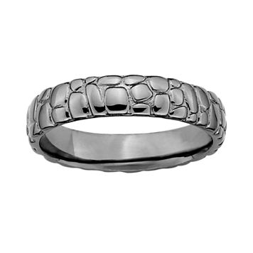 Stacks & Stones Ruthenium-Plated Sterling Silver Pebbled Stack Ring