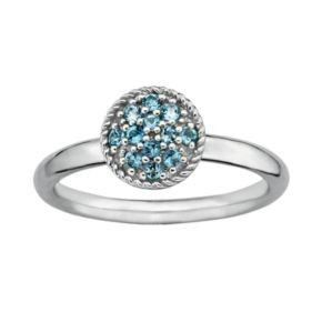 Stacks and Stones Sterling Silver Blue Topaz Cluster Stack Ring