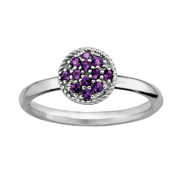 Stacks & Stones Sterling Silver Amethyst Cluster Stack Ring