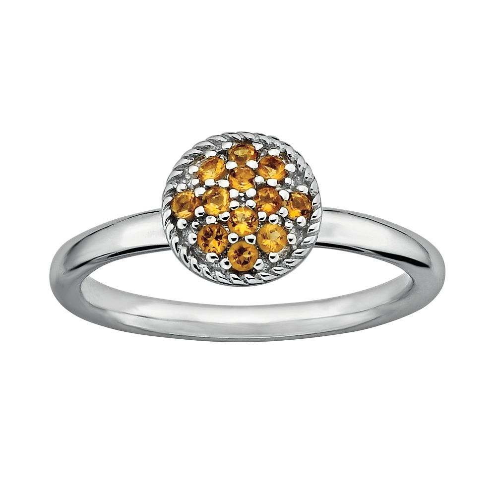 Stacks & Stones Sterling Silver Citrine Cluster Stack Ring