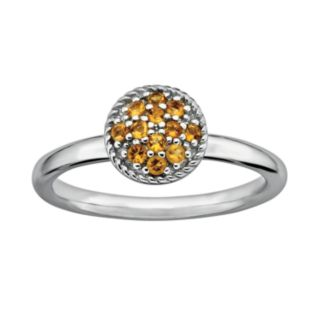 Stacks and Stones Sterling Silver Citrine Cluster Stack Ring