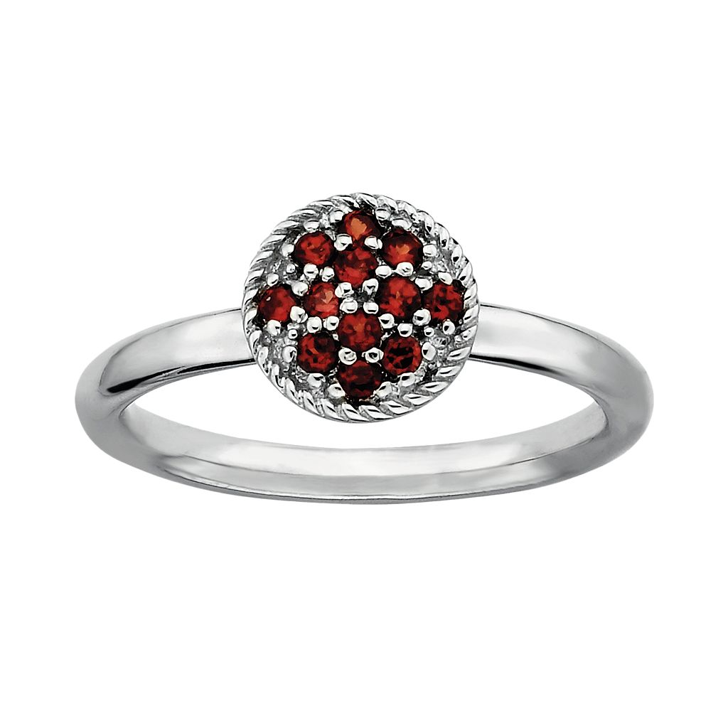 Stacks & Stones Sterling Silver Garnet Cluster Stack Ring