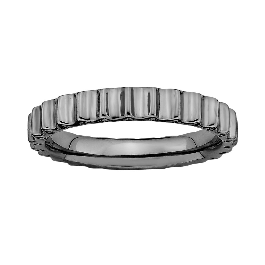 Stacks & Stones Ruthenium-Plated Sterling Silver Beveled Stack Ring