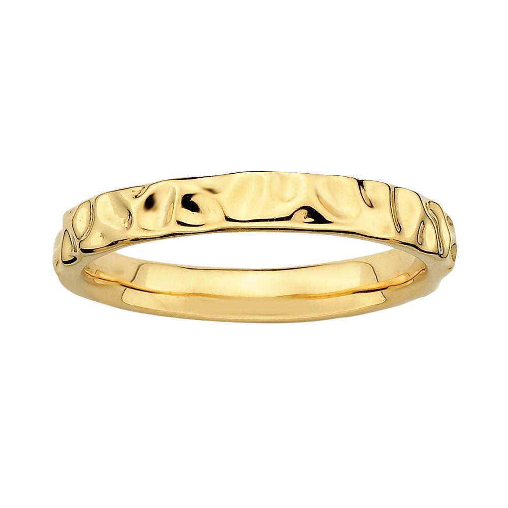 Stacks & Stones 18k Gold Over Silver Hammered Stack Ring