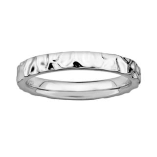 Stacks and Stones Sterling Silver Hammered Stack Ring