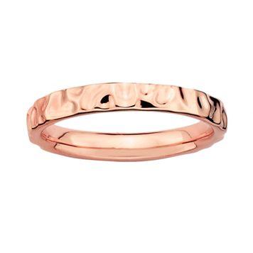 Stacks & Stones 18k Rose Gold Over Silver Hammered Stack Ring