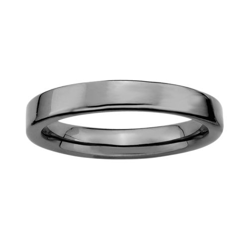 Stacks and Stones Ruthenium-Plated Sterling Silver Stack Ring