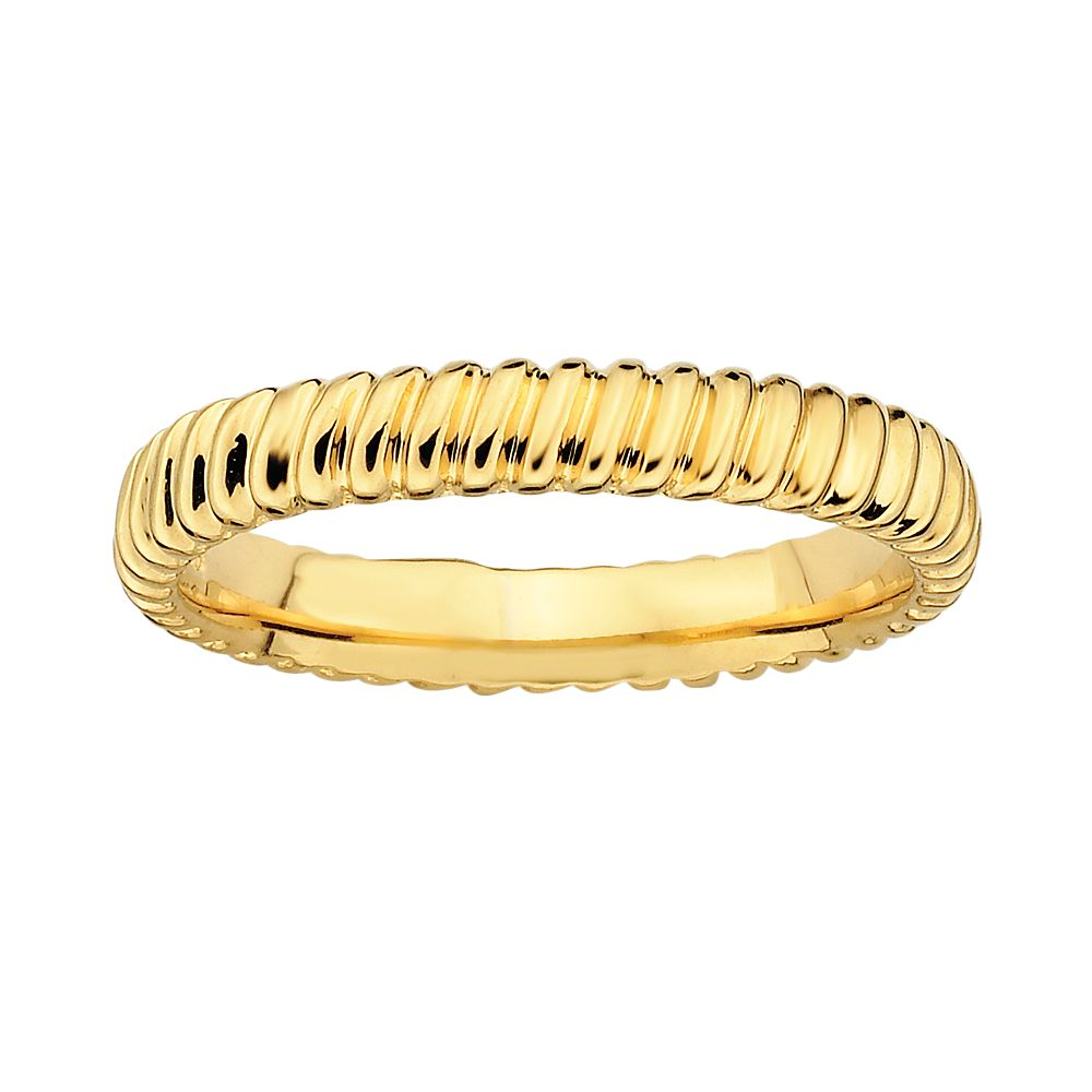 Stacks & Stones 18k Gold Over Silver Ribbed Stack Ring