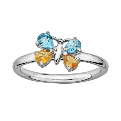 Stacks and Stones Sterling Silver Blue Topaz and Citrine Butterfly Stack Ring