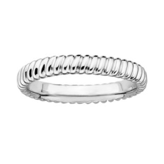 Stacks and Stones Sterling Silver Ribbed Stack Ring