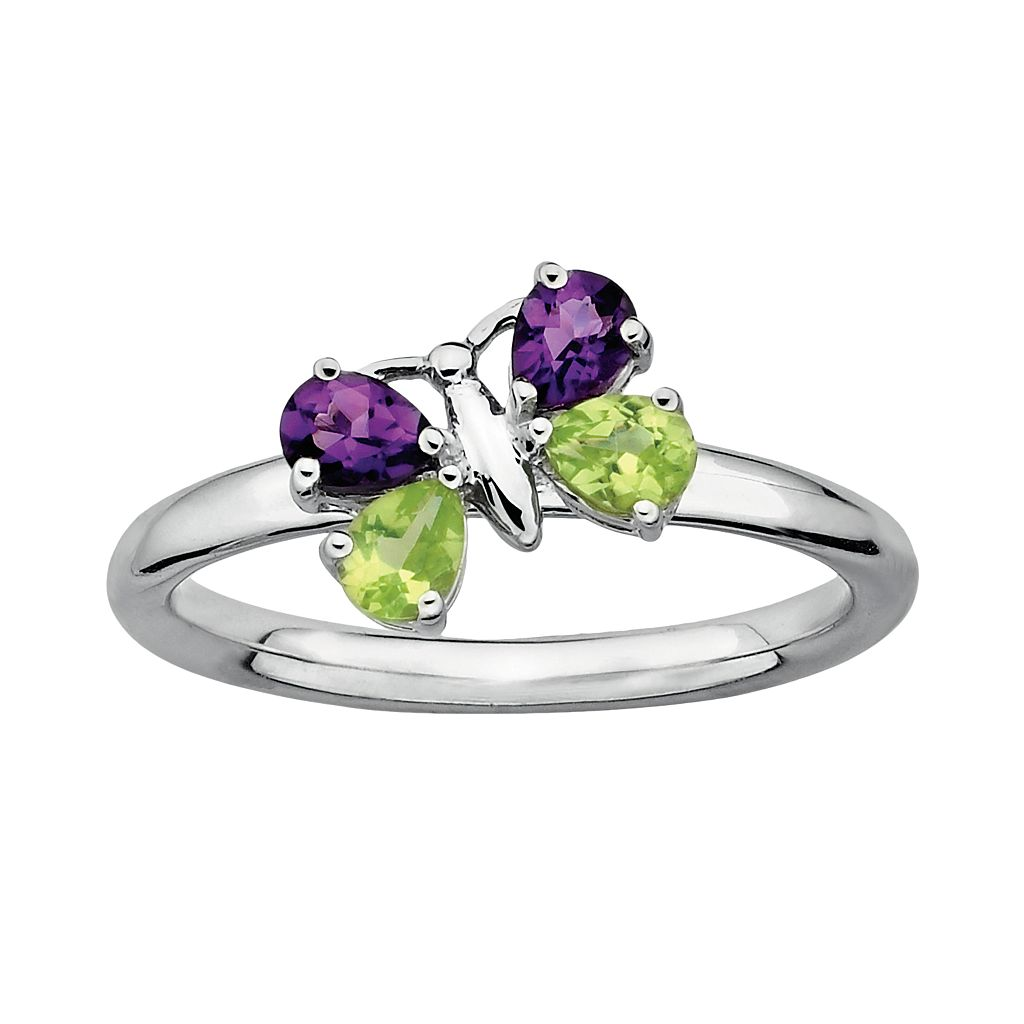 Stacks & Stones Sterling Silver Peridot & Amethyst Butterfly Stack Ring