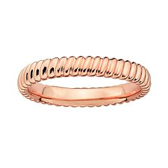Stacks & Stones 18k Rose Gold Over Silver Ribbed Stack Ring